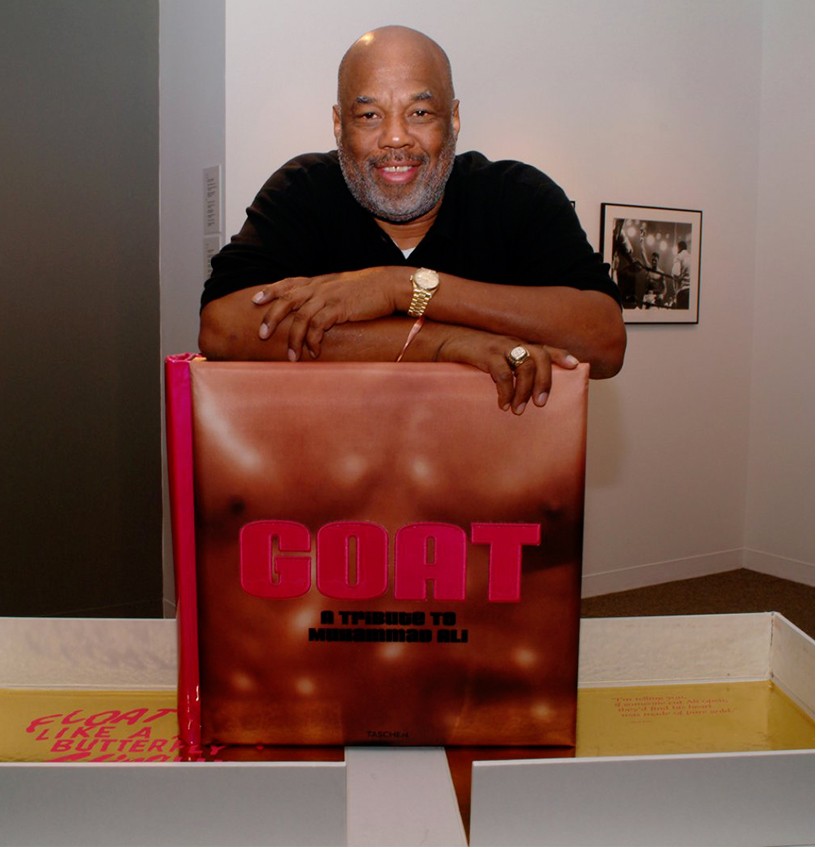 Photographer Howard L. Bingham with GOATGreatest Of All 77me, A 77ibute to Muhammad Ali © Courtesy of TASCHEN, June 2004